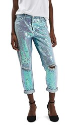 Topshop Women's Sequin Destroyed Boyfriend Jeans