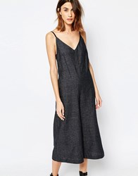 Warehouse Premium Linen Mix Wide Leg Jumpsuit Grey