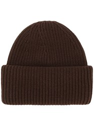 Golden Goose Deluxe Brand Ribbed Knit Beanie Brown