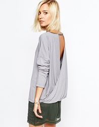 Religion Oversized Long Sleeve Top With Beaded Drape Back Cloudburst