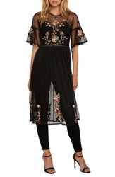 Willow And Clay Embroidered Mesh Tunic Black