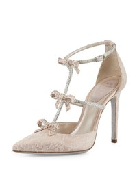 Rene Caovilla Crystal Bow Embellished T Strap Pump White