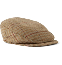 Musto Shooting Checked Wool Blend Tweed Flat Cap Brown