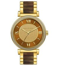 Michael Kors Mk3411 Catlin Gold Plated Stainless Steel Watch Brown