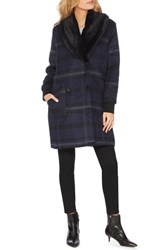 Michael Stars Wool Blend Coat With Removable Faux Fur Collar Passport