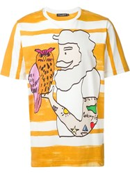 Dolce And Gabbana Sailor Print T Shirt Yellow And Orange