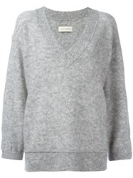 By Malene Birger Loose Fit Sleeves V Neck Jumper Women Polyamide Spandex Elastane Wool Kid Mohair Xxs Grey