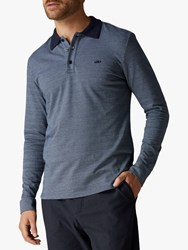 Jaeger Birdseye Long Sleeve Polo Shirt Light Blue