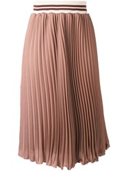Blugirl Fard Pleated Skirt Women Cotton Polyester 40 Brown