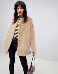 Stradivarius Faux Fur Coat Beige