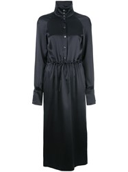 Fleur Du Mal Button Up Turtle Neck Dress Black