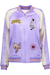 Opening Ceremony Fairytale Reversible Appliqued Silk Satin Bomber Jacket Lavender