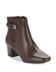 Bandolino Lethia Leather Ankle Boots Dark Brown