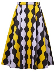 Vivetta Yellow Wavy Striped Full Skirt Multi