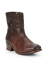 Frye Lynn Military Leather Ankle Boots Dark Brown