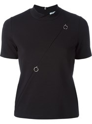 T By Alexander Wang Mock Neck Zipped T Shirt Black