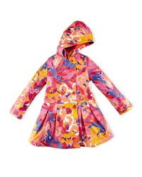 Catimini Hooded Floral Raincoat Red