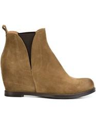 Buttero Wedge Ankle Boots Brown