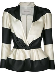 Carolina Herrera Striped Jacquard Jacket Women Silk Polyester 12 Black