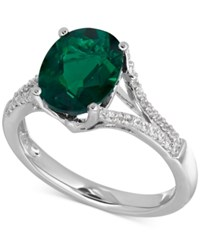 Macy's Lab Created Emerald 2 1 2 Ct. T.W. And White Sapphire 1 5 Ct. T.W. Ring In Sterling Silver