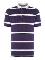 Howick Men's La Fine Stripe Quilted Short Sleeve Rugby Navy