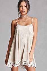 Forever 21 Lace Trim Cami Dress Beige