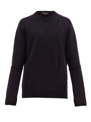 Stella Mccartney Distressed Wool Sweater Black Navy
