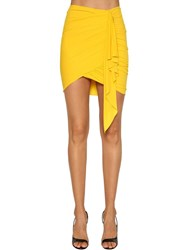 Alexandre Vauthier Ruched Stretch Jersey Mini Skirt Yellow