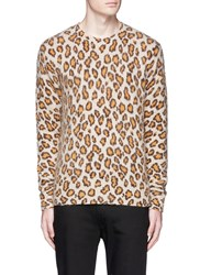 Acne Studios 'Peele' Leopard Print Wool Cashmere Sweater Orange Brown