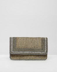 Little Mistress Sequin Foldover Clutch Gold
