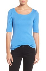 Caslonr Women's Caslon Ballet Neck Cotton And Modal Knit Elbow Sleeve Tee Blue Regatta