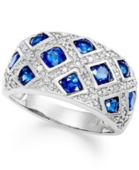 Macy's Sterling Silver Ring Sapphire 2 Ct. T.W. And Diamond 1 6 Ct. T.W. Woven Band
