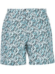 Onia Calder Printed Swim Trunks Blue