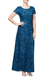 Alex Evenings Embellished Lace Gown Peacock