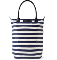 Want Les Essentiels Orly Leather Trimmed Striped Organic Cotton Canvas Tote Blue