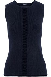 Elie Tahari Penny Open Knit Trimmed Ribbed Knit Top Navy