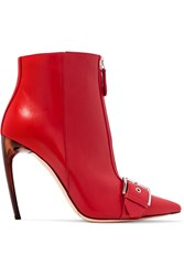 Alexander Mcqueen Buckled Leather Ankle Boots Red