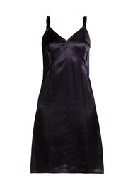 Helmut Lang V Neck Satin Slip Dress Navy
