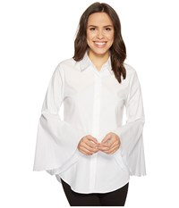 Vince Camuto Bell Sleeve Button Down Collared Shirt Ultra White Women's Clothing