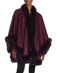 Sofia Cashmere And Fox Fur Cape Plum