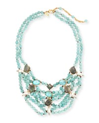 Beaded Multi Strand Turquoise Howlite Bib Necklace Gold Alexis Bittar