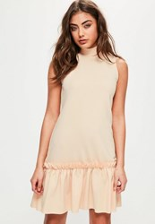 Missguided Pink High Neck Sleeveless Frill Hem Shift Dress Nude