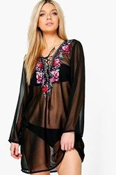 Boohoo Boutique Embroidered Lace Up Beach Kaftan Black