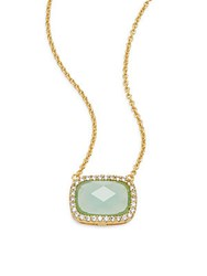 Saks Fifth Avenue Stone Pendant Necklace Gold Blue