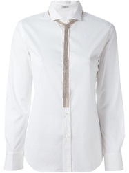 Brunello Cucinelli Beaded Lace Up Collar Shirt White