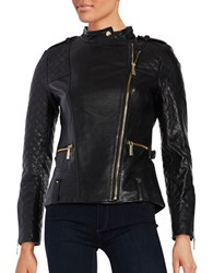 Vince Camuto Leather Front Zip Moto Jacket Black