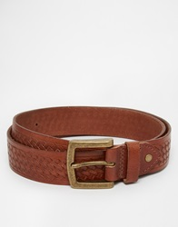 Asos Leather Belt In Brown With Vintage Styling