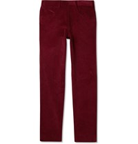 Anderson And Sheppard Slim Fit Cotton Corduroy Trousers Burgundy