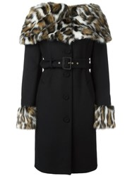 Moschino Faux Fur Collar Coat Black