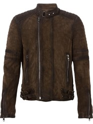 Diesel Black Gold Classic Biker Jacket Brown